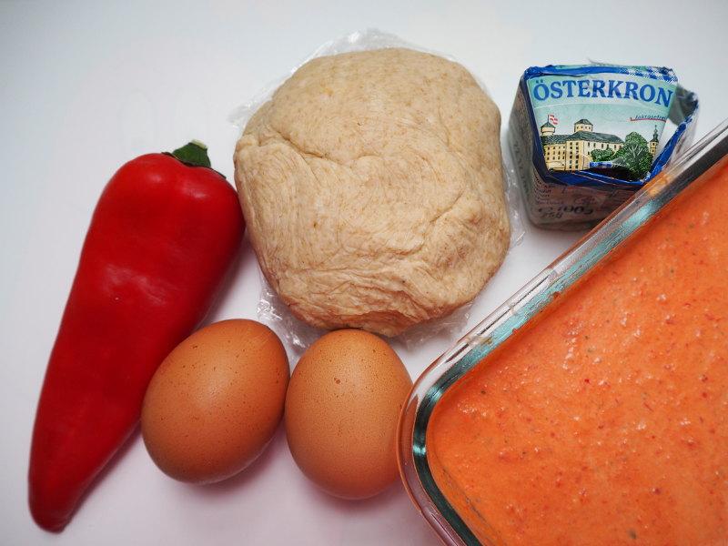 goodblog: Dreierlei vegetarische Quiche - Paprika-Quiche Zutaten