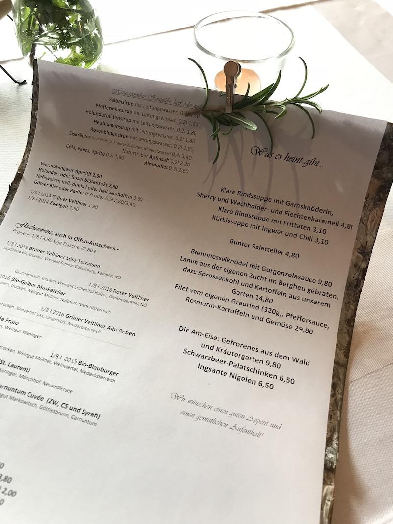 goodblog in Osttirol: Kräuterwirtshaus Strumerhof - Speisekarte eigens für uns